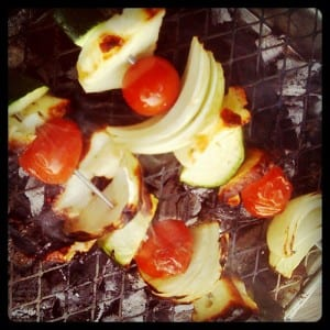 Yum yum! Halumi kebabs on our BBQ...