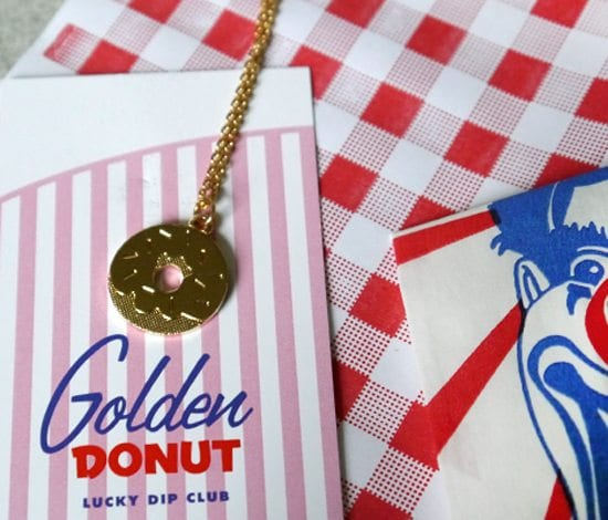 donut necklace from lucky dip club uk quirky retro style vintage themed jewelery uk 50s gift idea