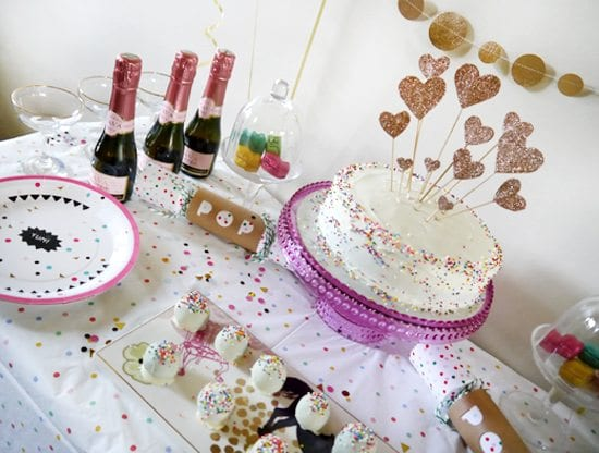 elegant party ideas cute birthday party dinner table decorations confetti funfetti rainbow sprinkles 30th bday ginger ray habitat babycham oreo truffles meri meri handmade cake topper idea cute fun colourful kate spade inspired