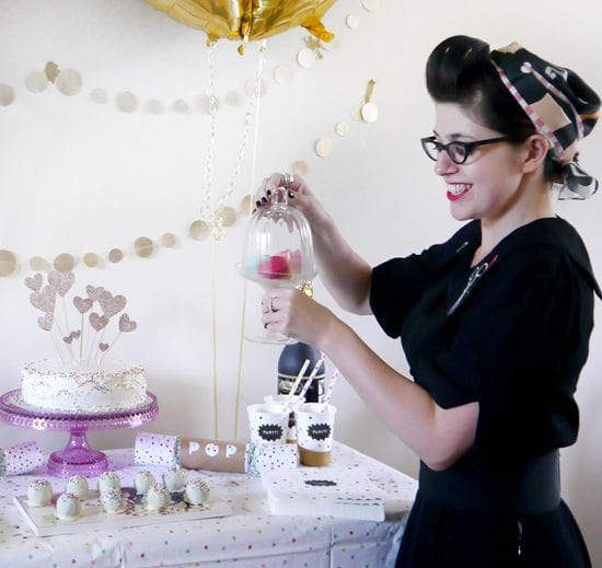 madamoselle macaron confetti party gold sprinkles birthday rainbow decor funfetti cake handmade cake topper vintage party inspiration cute party ideas 30th birthday celebration vintage style