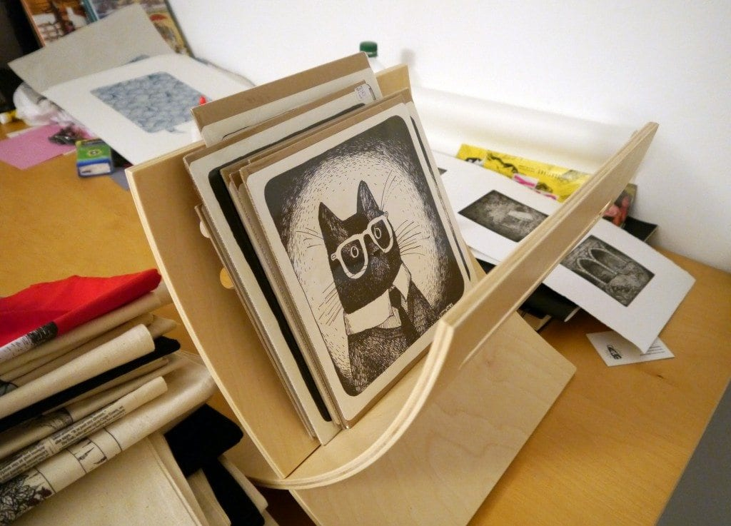 zyzanna illustration cat with geek glasses kitten drawing screen prints edinburgh designer quirky unique fun trendy