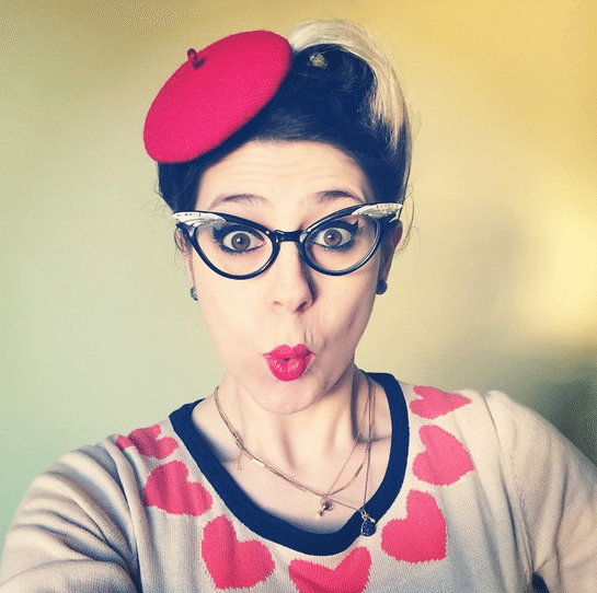 hello strumpet red beret lipstick lashes and locks pin up hair retro look vintage style