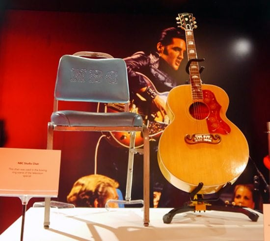 elvis 1968 special original guitar and hbo chair graceland exhibition london review