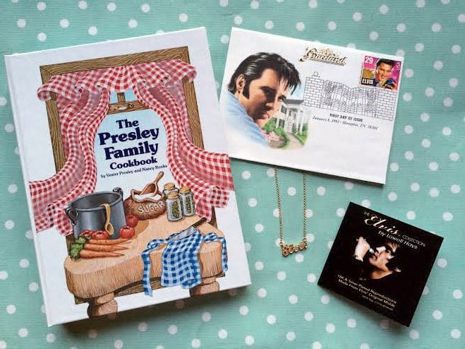 elvis presley gifts vintage cookbook stamp necklace