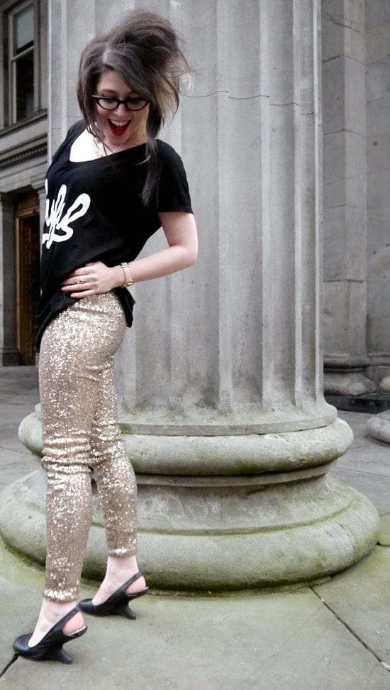 gold sequinned trousers outfit post