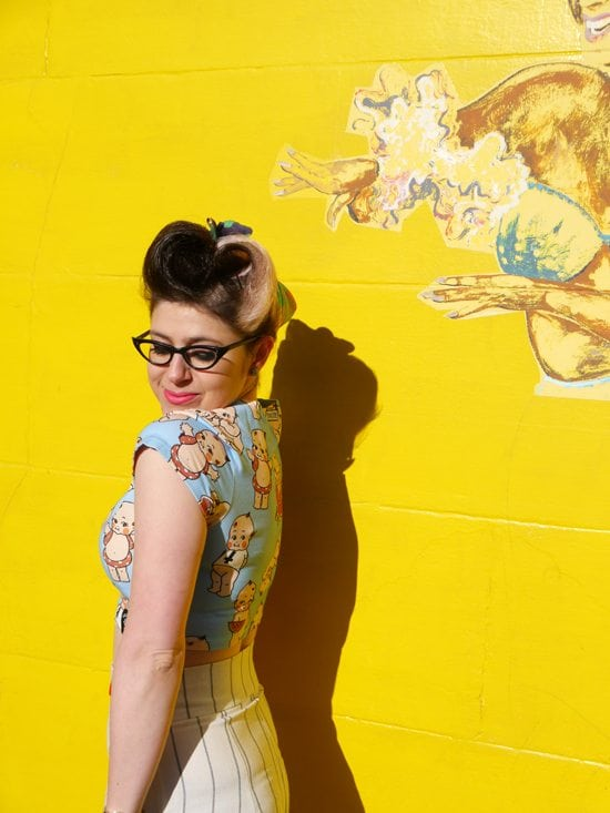 pin up hair victory rolls modern fashion outfit post