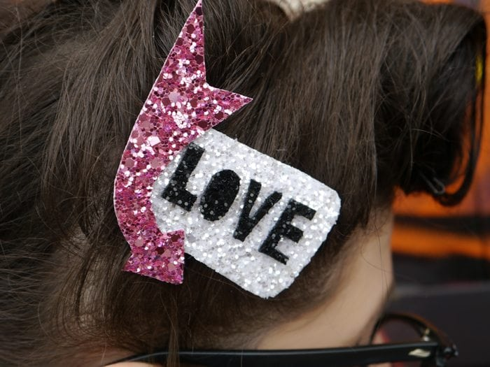 retro love glitter hair accessory