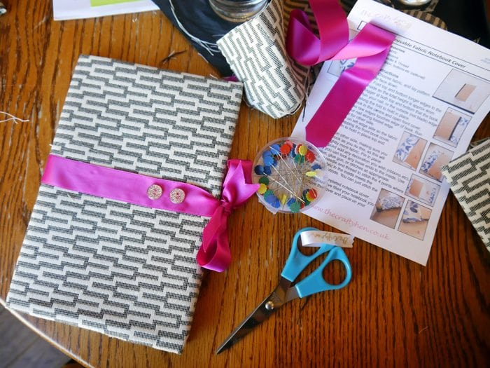 book binding diy with chevron geometric fabric hot pink ribbon gold glitter buttons