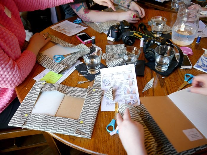 hillarys blinds book binding craft with the crafty hen diy party