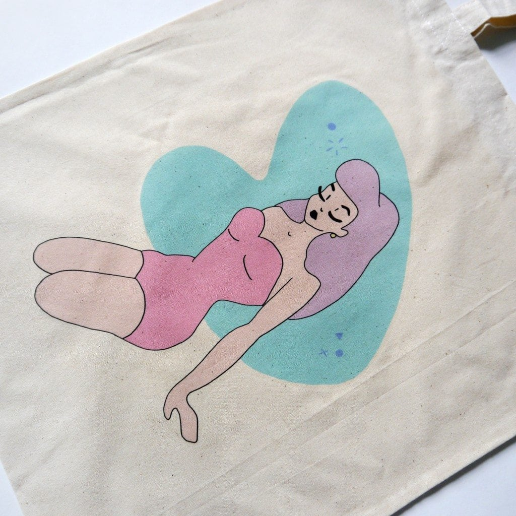 atomic pin up girl tote bag