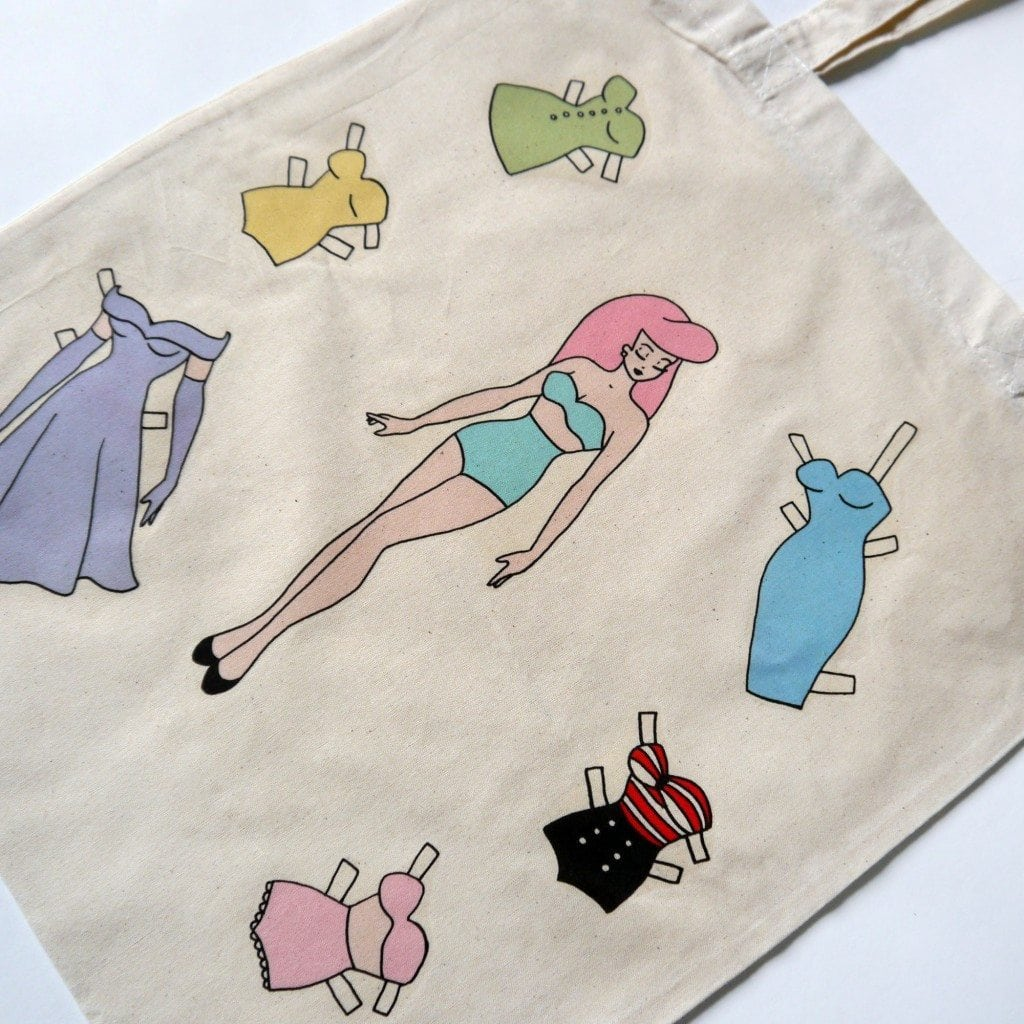 retro paper doll pin up girl tote bag 2