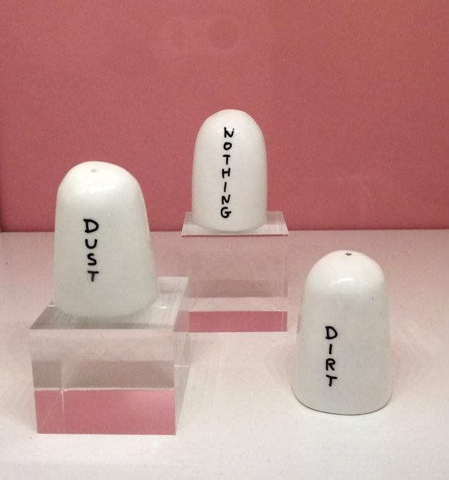 dust dirt nothing david shrigley sketch london tableware ceramic salt and pepper shakers