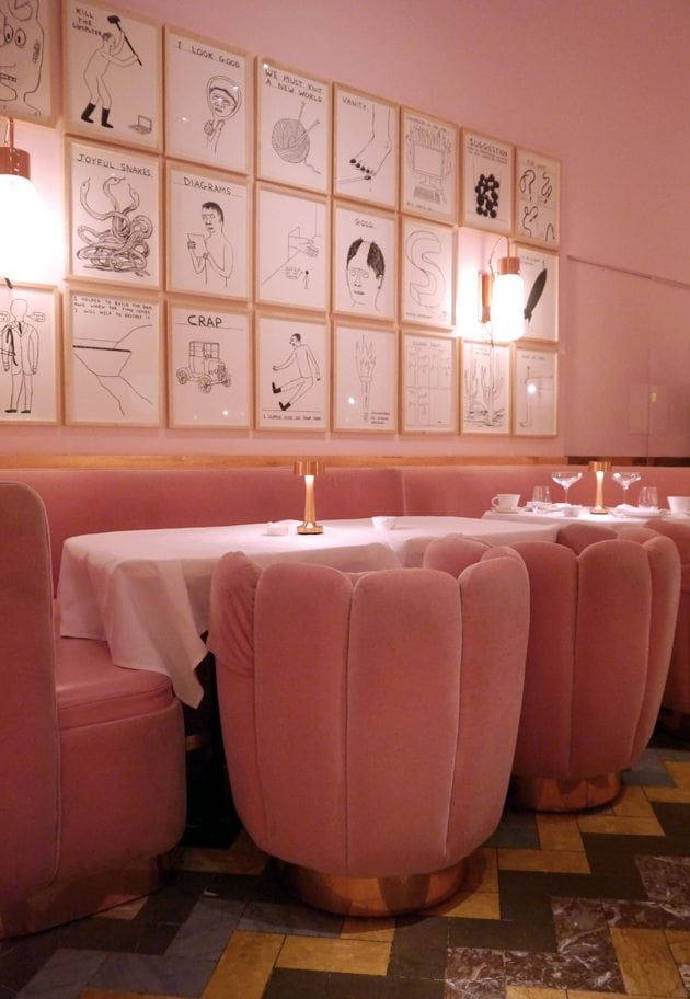 modern vintge decor retro interior inspiration pastel pink furniture scallop chairs london david shriggley exhibition