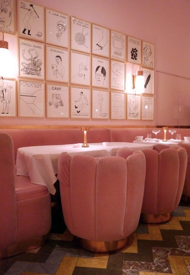 modern vintge decor retro interior inspiration pastel pink furniture scallop chairs london david shriggley exhibition